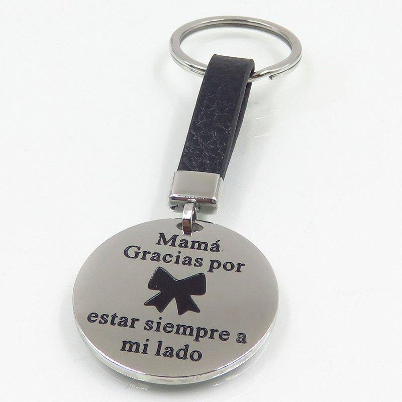 Stainless steel keychain with leather