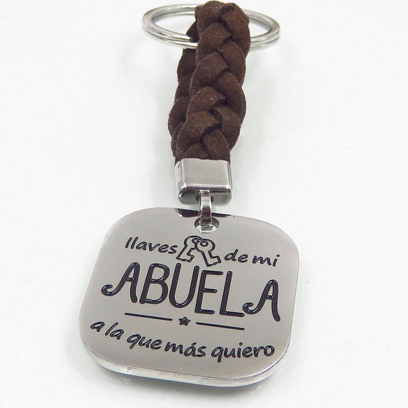 Brown braided rope style fashion keychain