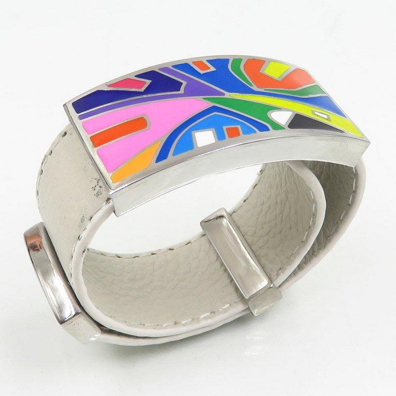 White leather stainless steel custom design bangle