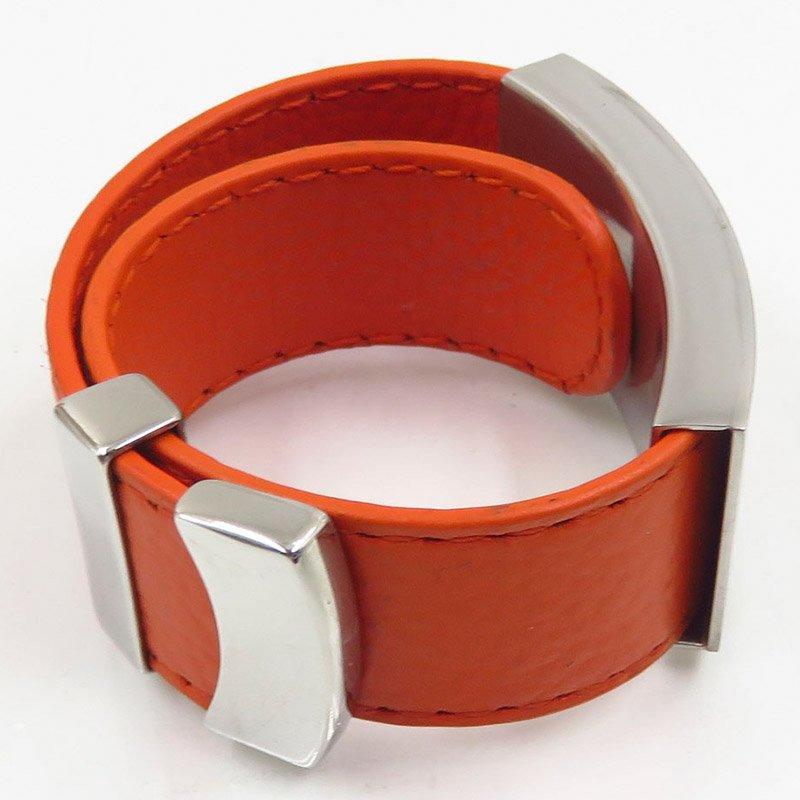 Wholesale market hot bangle with orange leather