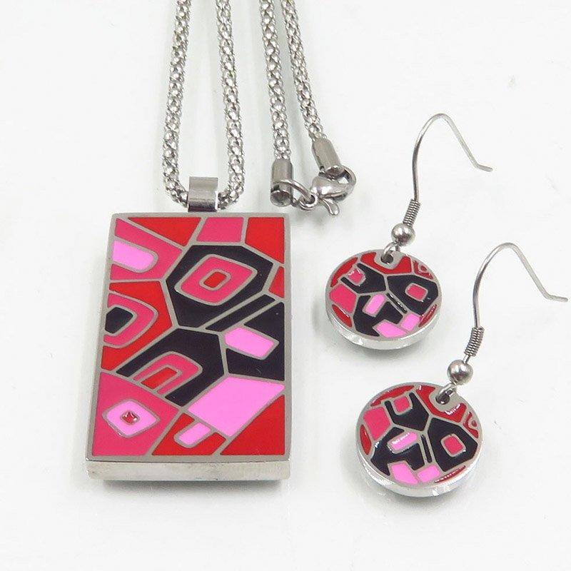 Red color enamel jewelry set for ladies from China