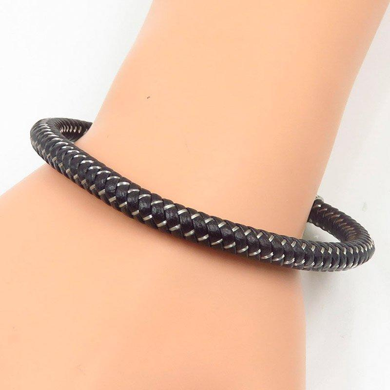 Latest simple design leather bangle stainless steel fashion wholesale jewelry
