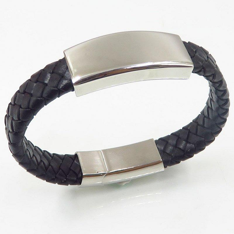 Hot sales casting black bangle genuine leather custom bangle
