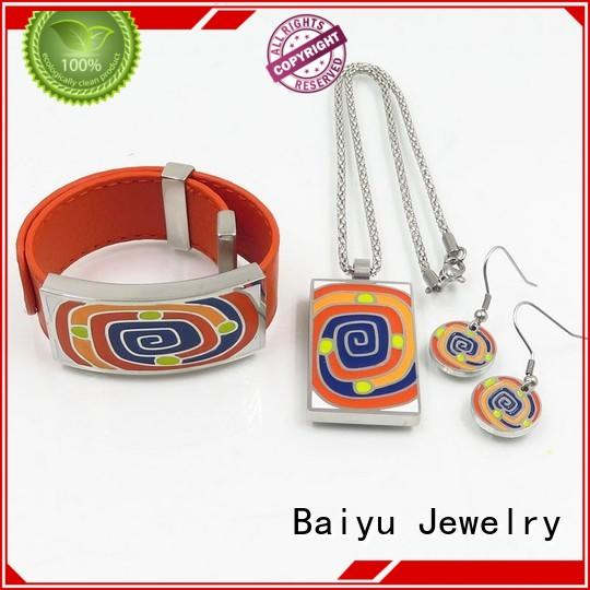 Baiyu Jewelry enamel jewelry sets with flower for ladies