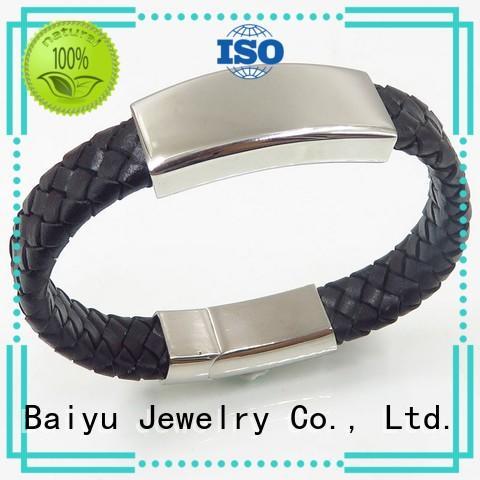 black leather bangle low for wholesale Baiyu Jewelry
