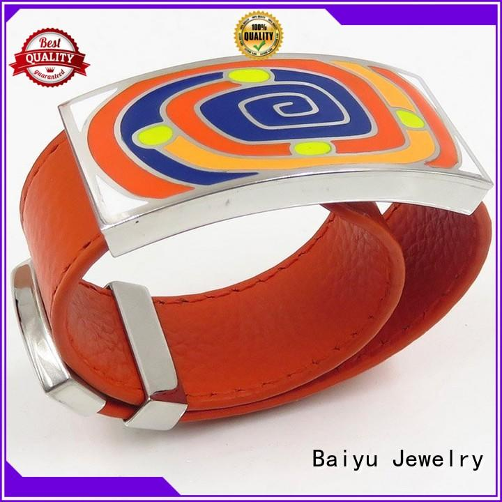 orange enamel bangle bracelets high quality for girls Baiyu Jewelry