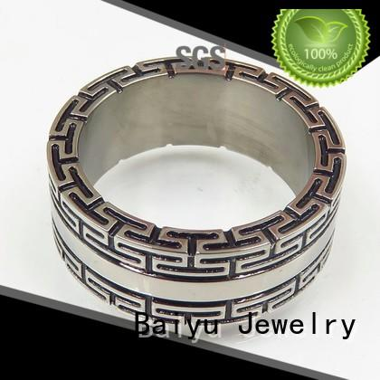 stone mens stainless steel rings design for girl Baiyu Jewelry