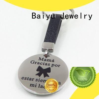 Baiyu Jewelry butterfly custom stainless steel keychains green gemstone for ladies