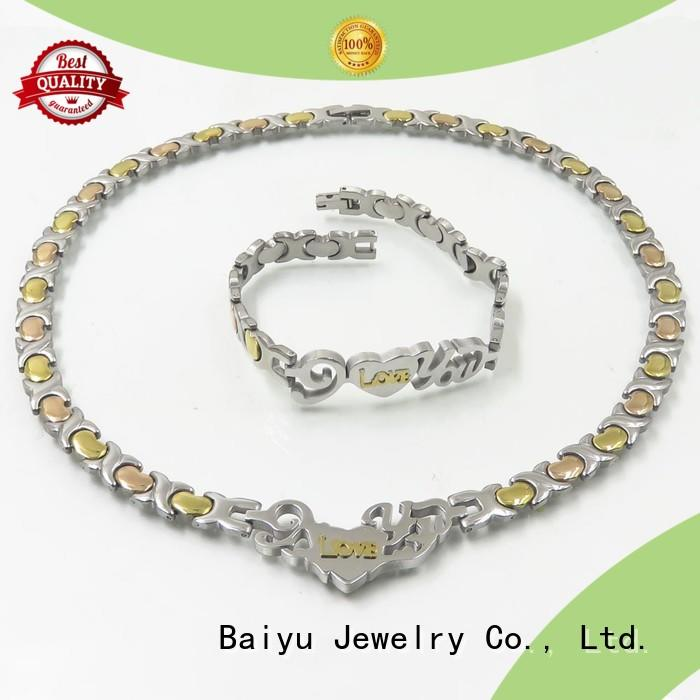 Baiyu Jewelry stainless steel jewelry set white for engagement