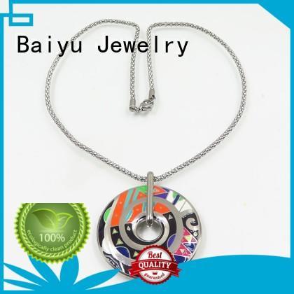 silver and enamel necklace auspicious for friendship Baiyu Jewelry