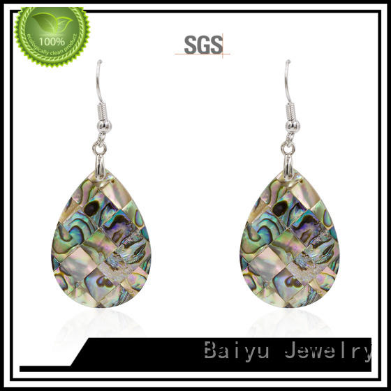 Baiyu Jewelry dangle drop earrings with stone use for wedding