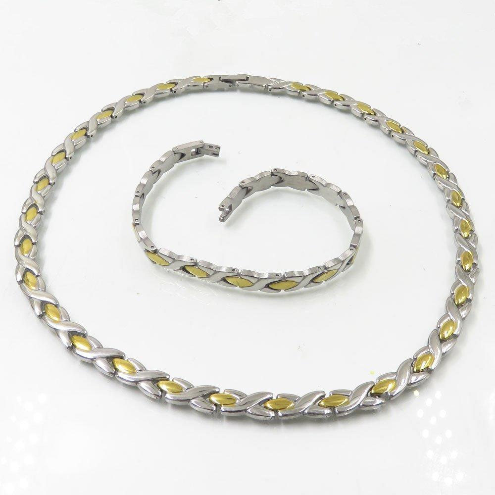 Stainless steel wholesale statement jewelry sets 8mm mens silver and gold chain and bracelet set