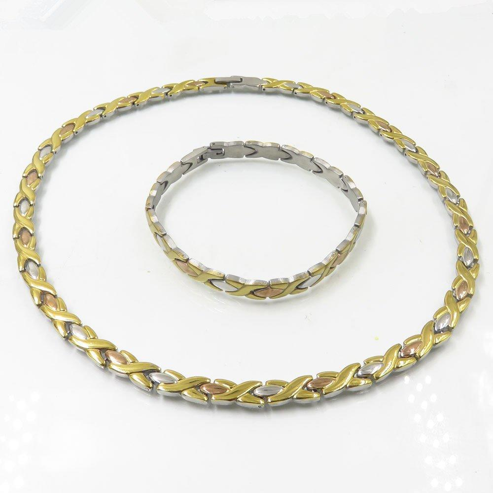 China jewelry wholesale stainless steel gold plated cuban link chain jewelry set