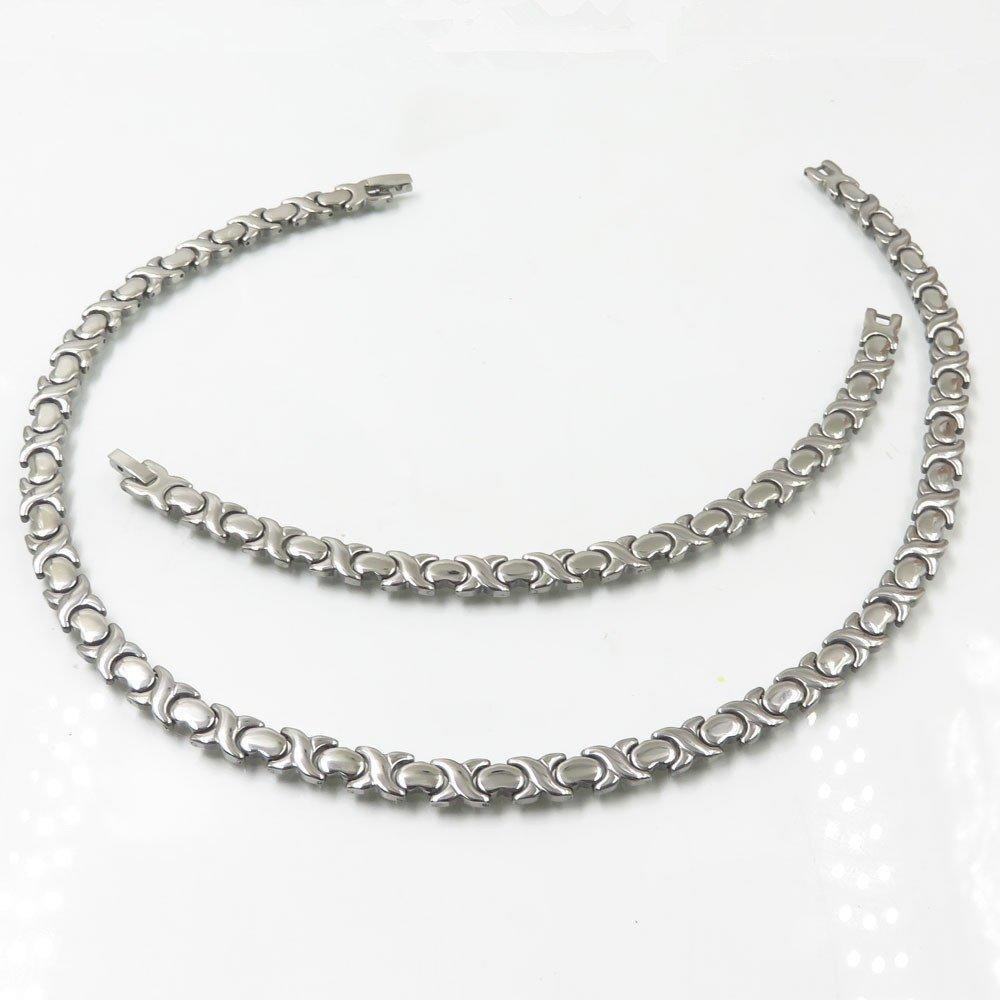 Bracelet and necklace flat chain steel color jewelry sets