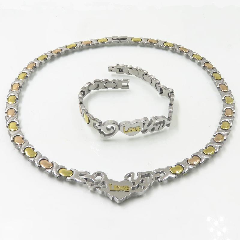 Baiyu stainless steel high quality byzantine link chain necklace bracelet set