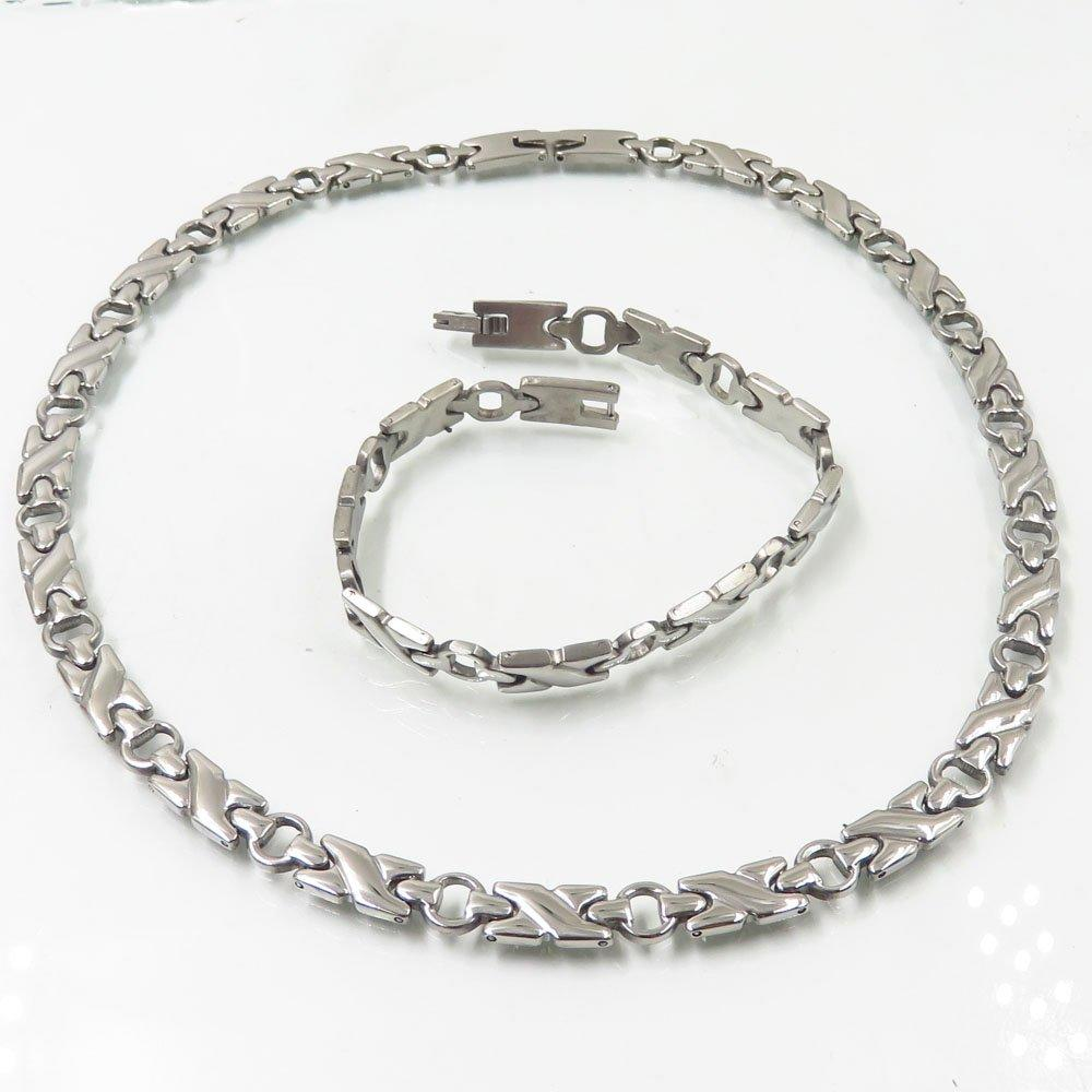 Silver color  stainless steel chain necklace unisex fashion jewelry set