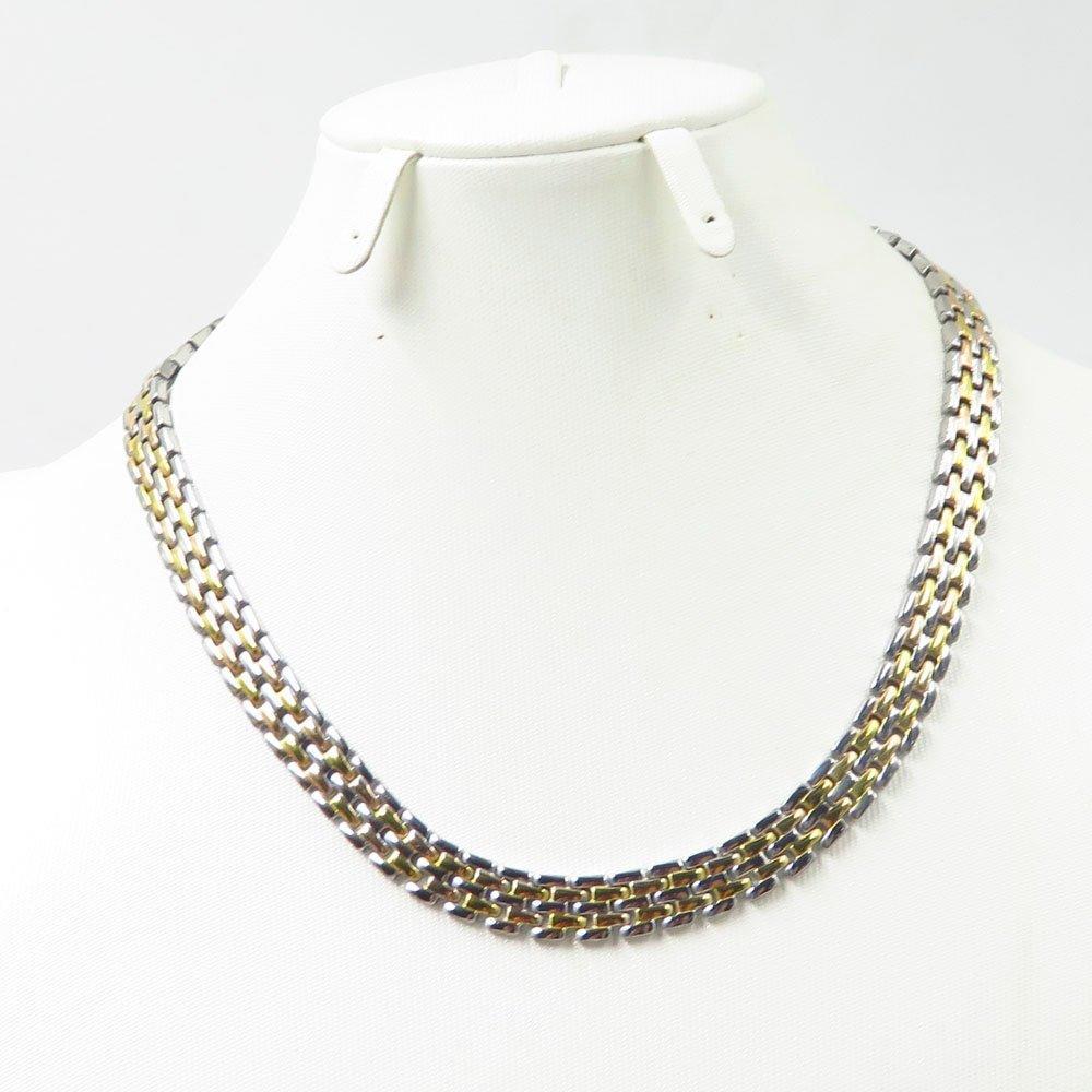Two-tones men necklace bracelet set boys jewelry cuban-curb chain set