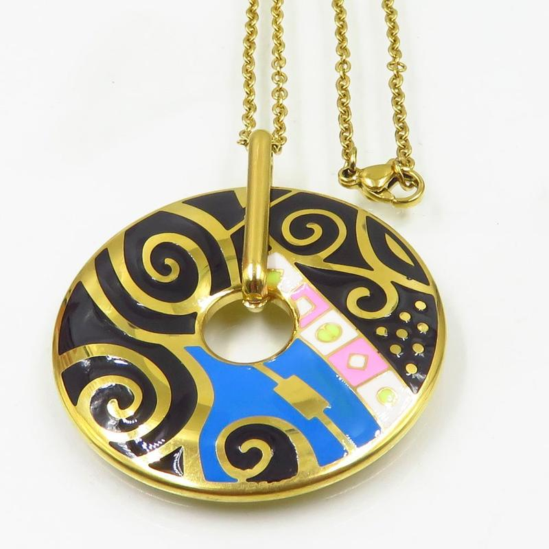 Top quality Guangzhou round shape gold plated Oil drop process women necklace stainless steel chain