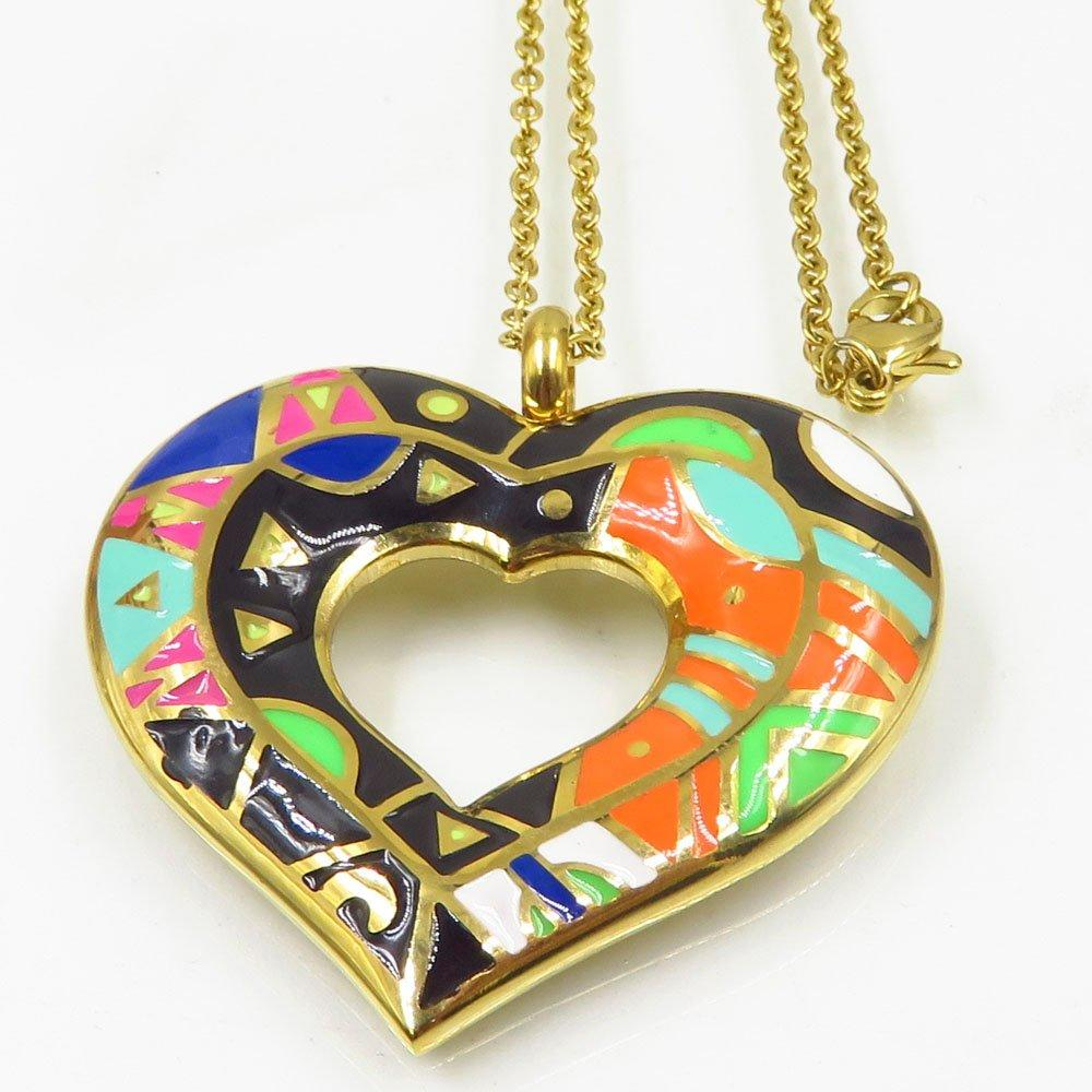 Wholesale Guangzhou heart shape gold plated Oil drop process women stainless steel necklace