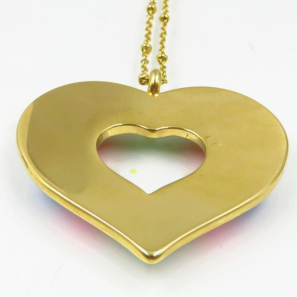 Guangzhou wholesale colorful heart pendant women gold necklace in 2018
