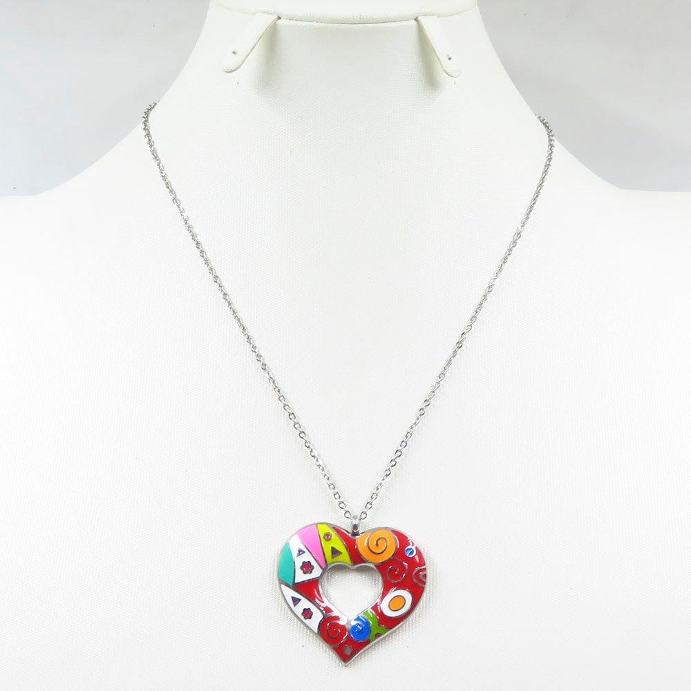 High quality heart shape red color Oil drop process women style stainless steel necklace