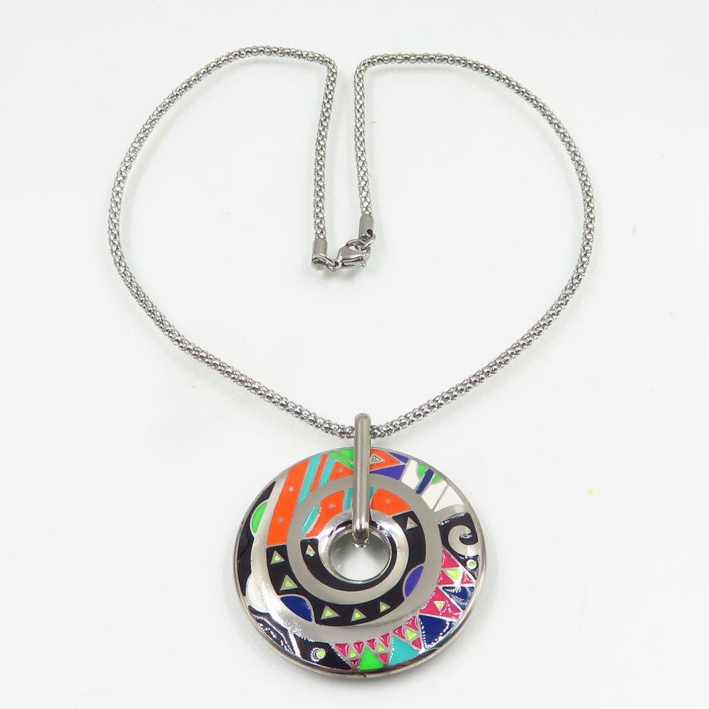 Hottest stainless steel main material round shape silver charm necklace jewelry type