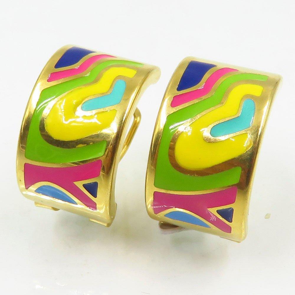 Factory price enamel women gold stud earrings