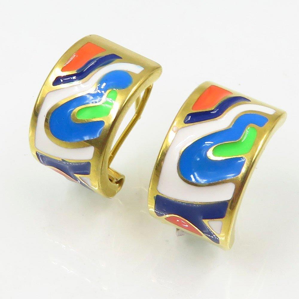 Baiyu wholesale stainless steel gold custom enamel stud earrings