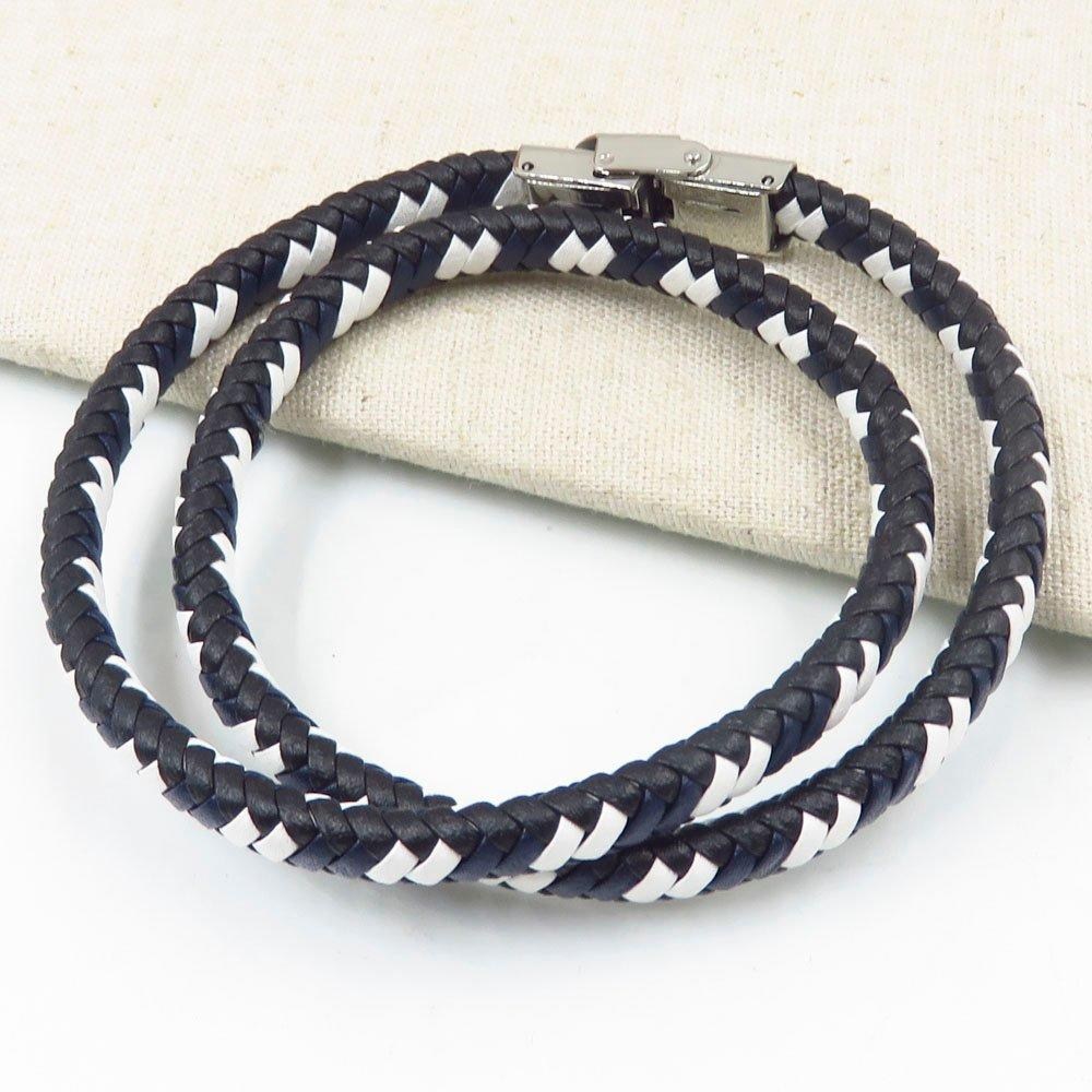 Guangzhou factory wholesale three color leather rope men stainless steel bangle