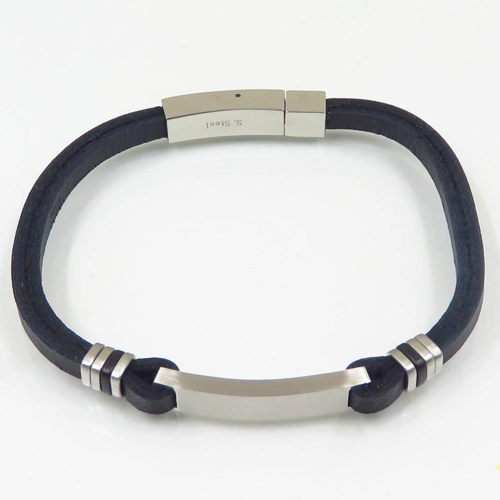 Fashion simple style stainless steel  plain silver black leather bangle