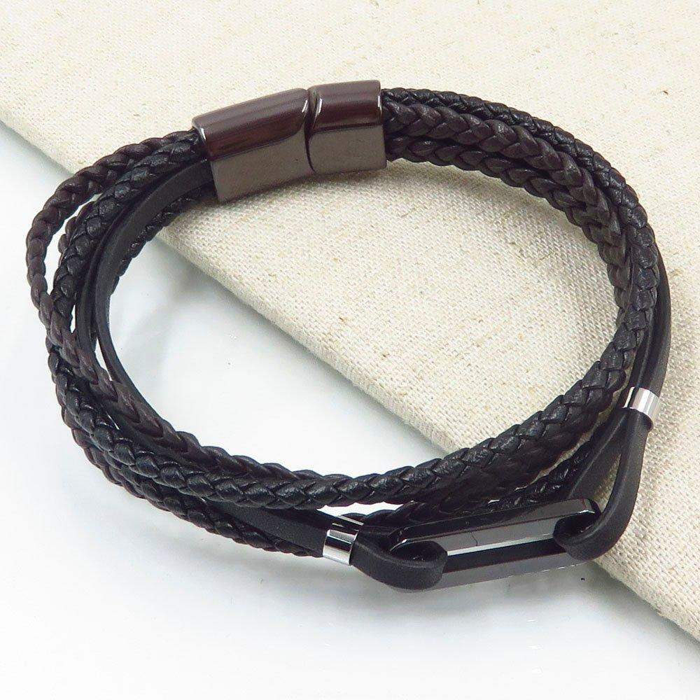 2018 design men stainless steel black leather multi-layered bangle