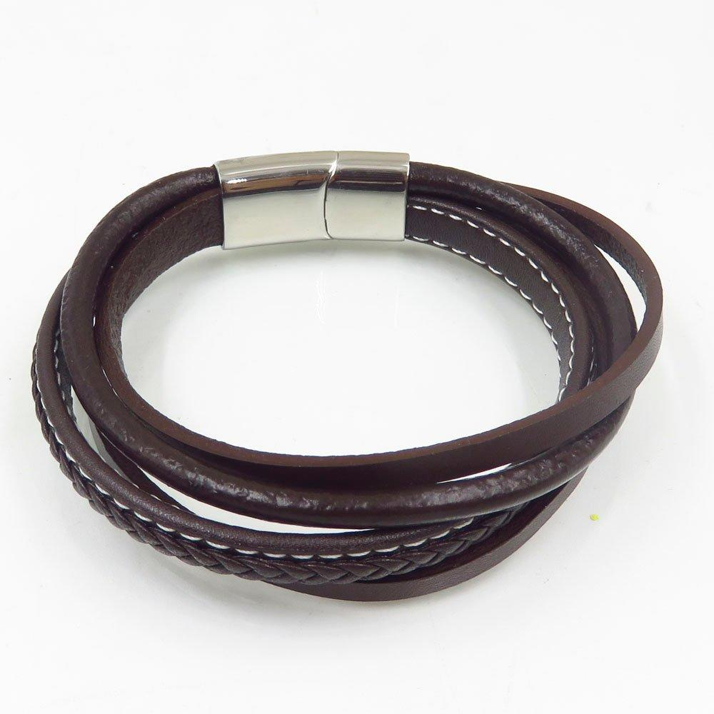 Wholesale and fashionable stainless steel buckle bracelet braided leather rope bangle from China