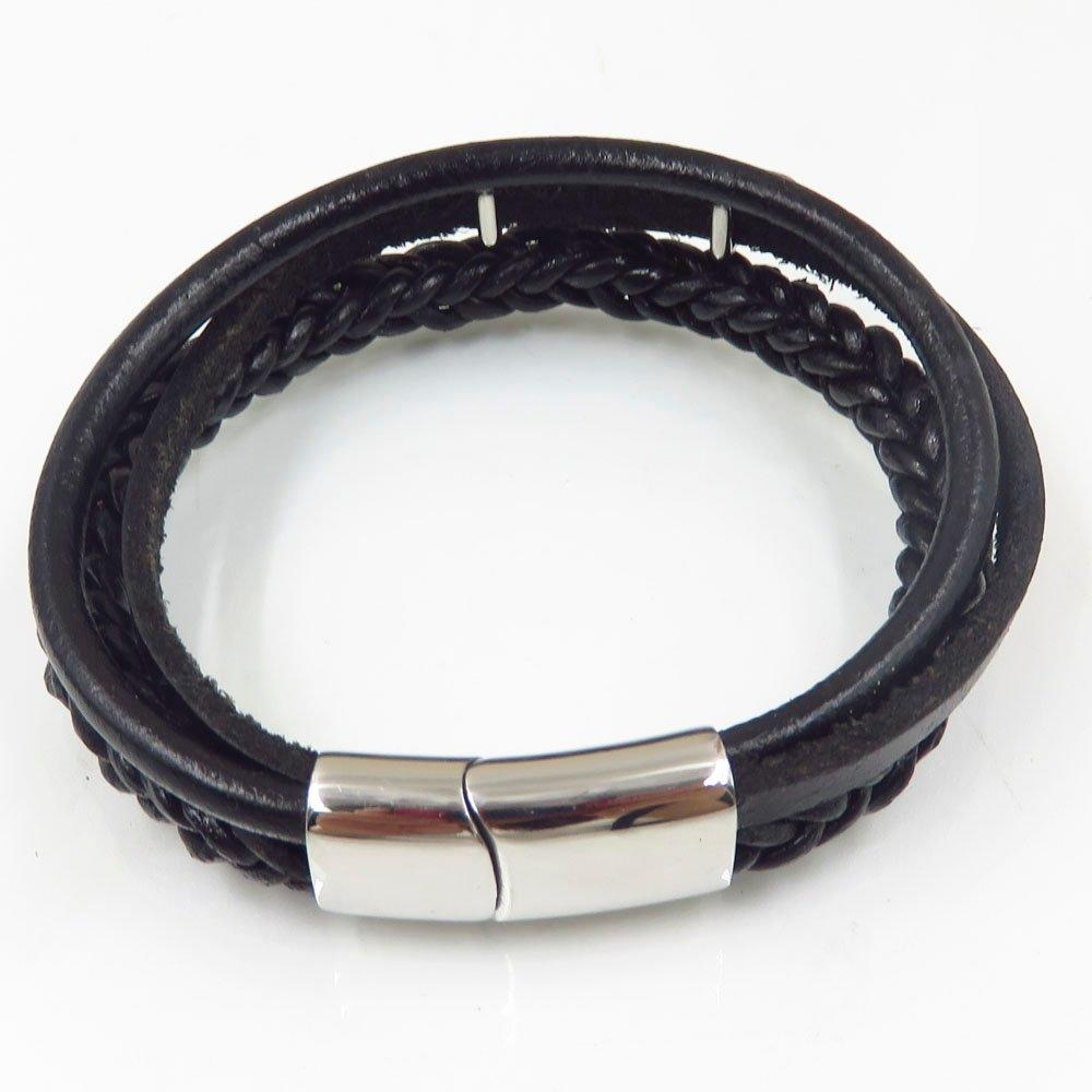 12mm Fashion black leather stainless steel weaving bangle