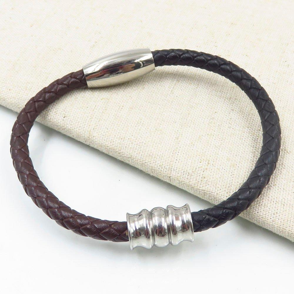 5mm Retro magnetic clasp stainless steel wrap real leather bangle