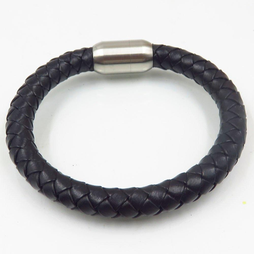 China manufacturer wholesale leather steel mens magnetic black bangle