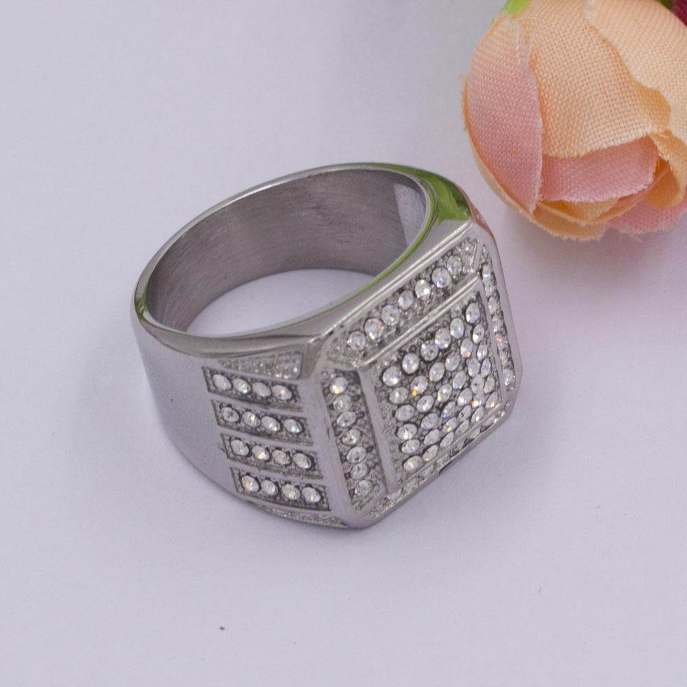 Simple design finger ring silver color stainless steel ring