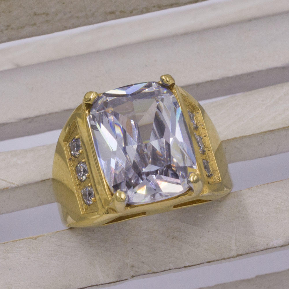 Lucky single stone gold plating finger ring from saudi arabia