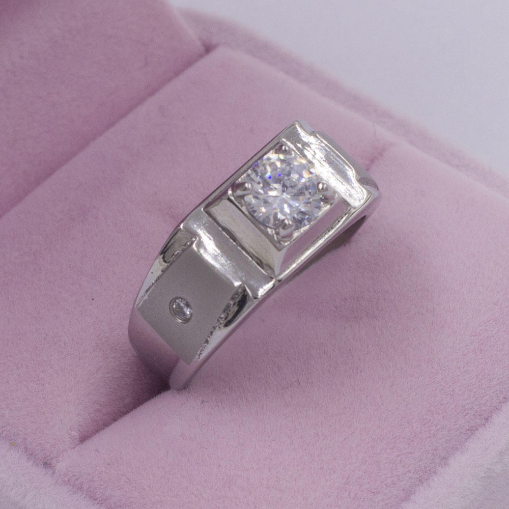 Simple design stainless steel women square stone ring jewelry