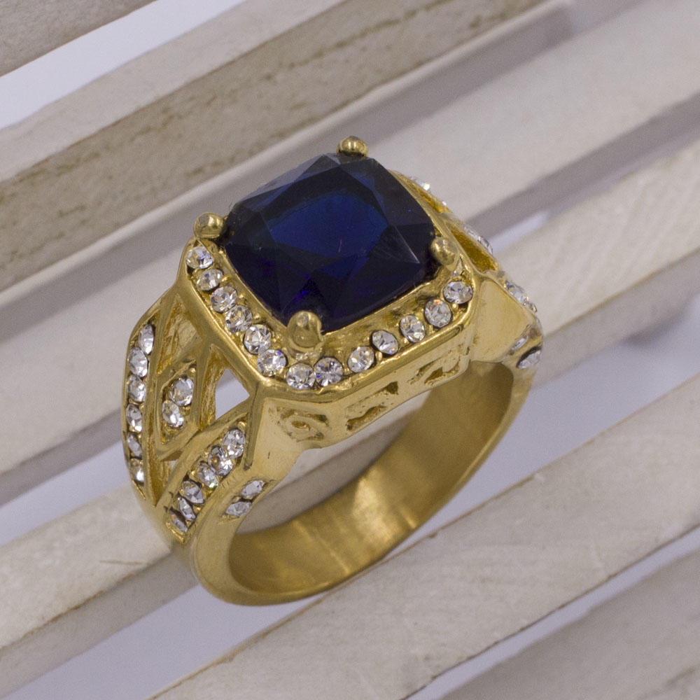 Chinese manufacturer fashion wave design blue sapphire crystal stone ring