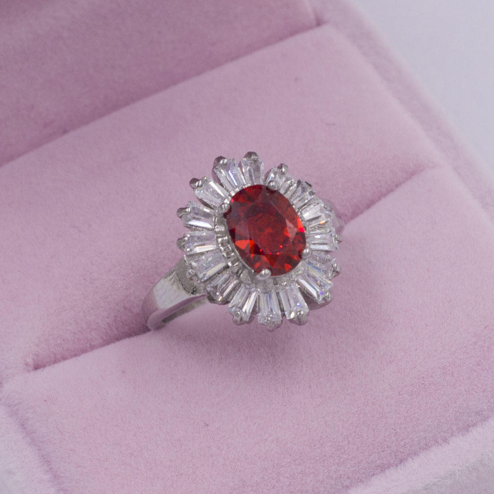 new model red crystal stone jewelry silver promise ring