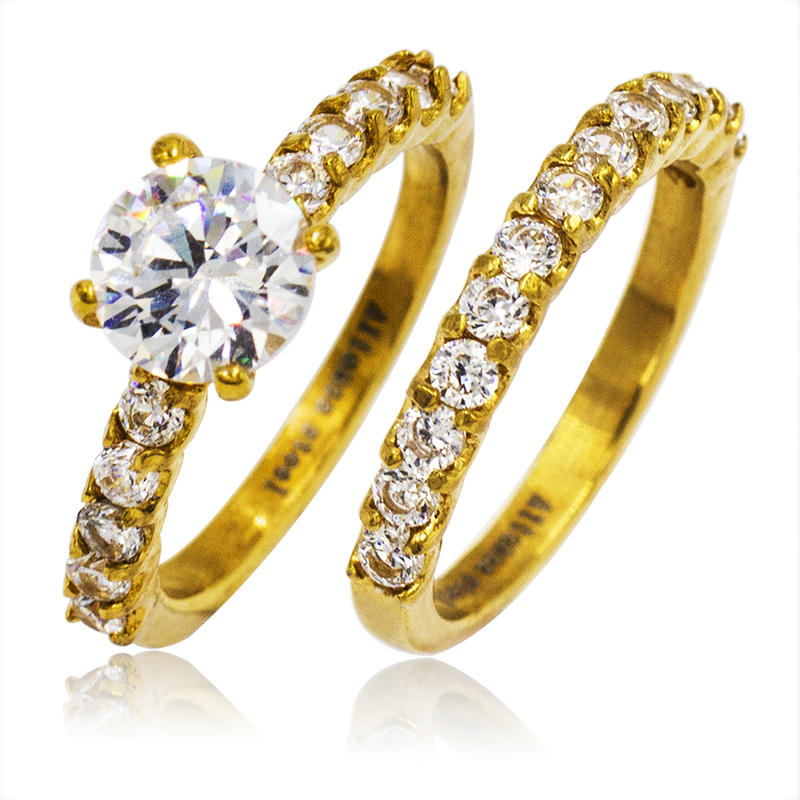 Classic wedding rings for lover gold plated stainless steel couple rings for engagement party jewelry