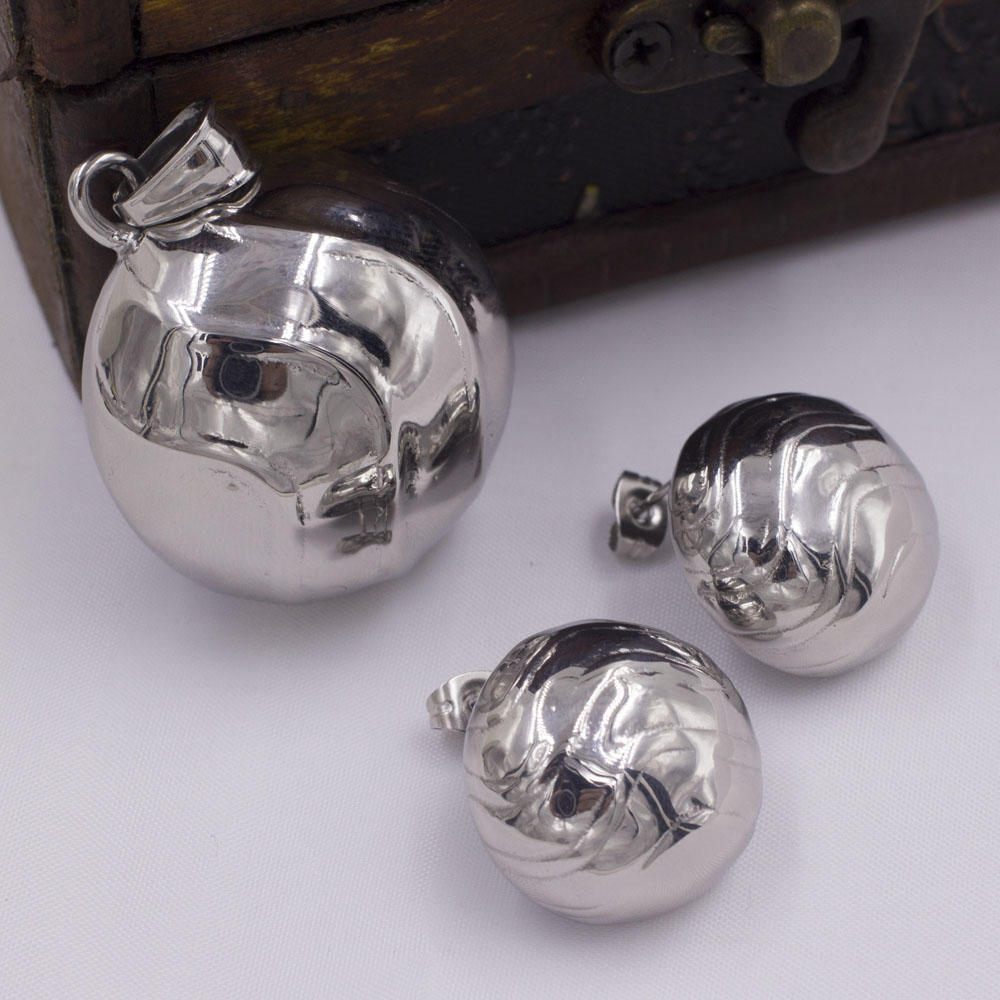 Wholesale grainy silver color hemispherical stainless steel jewelry set