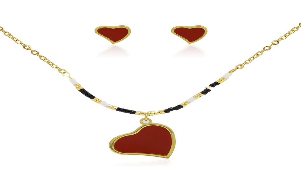 Elegant heart pendent necklace jewelry set in stainless steel AW00046vhhl-415