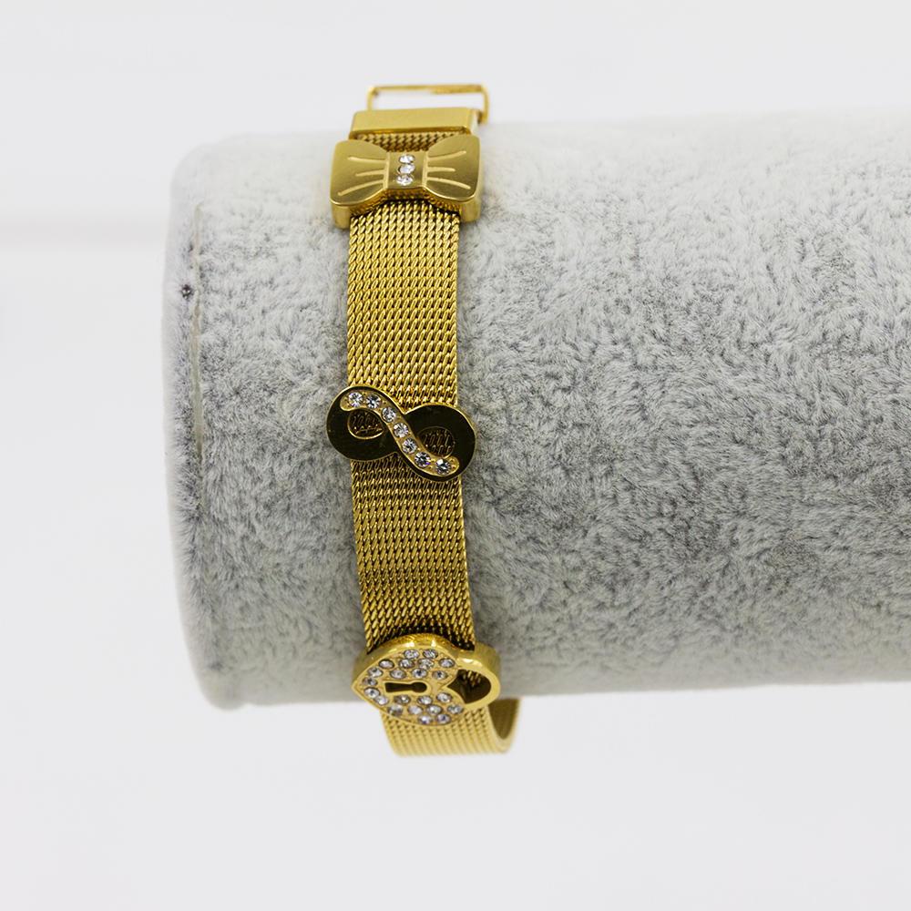 Cute small Tie pendants gold bracelet graceful women bangle-AW00069vhmv-683