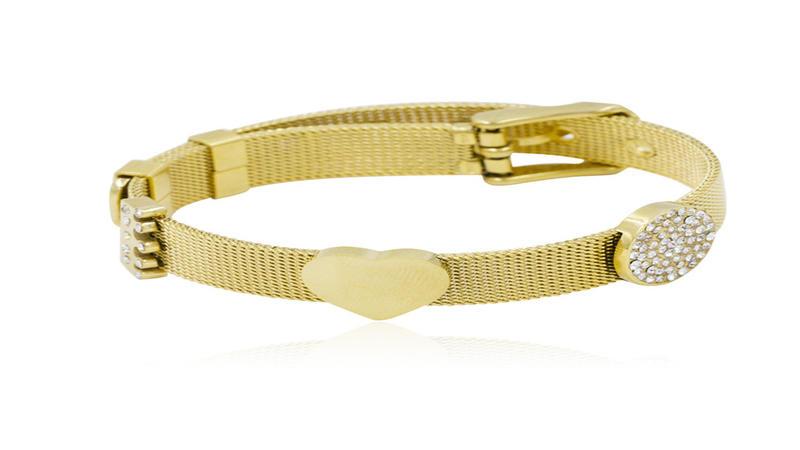 Fashion stainless steel gold bangle love heart women bracelet