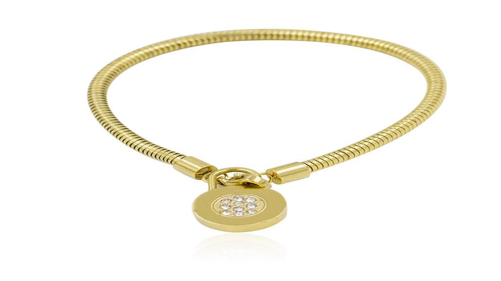 18k gold plated round shape crystals steel bracelet