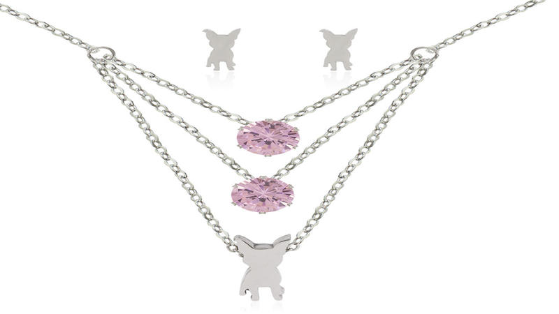 Simple stainless steel design pink diamond women jewelry set