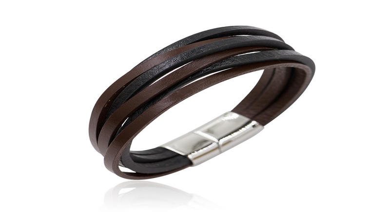 Classic genuine black and brown leather mens bracelet