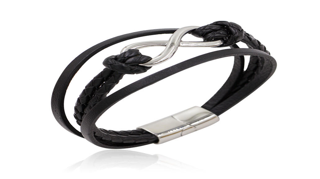 Simple eight shape steel bracelet  handmade black leather men jewelry