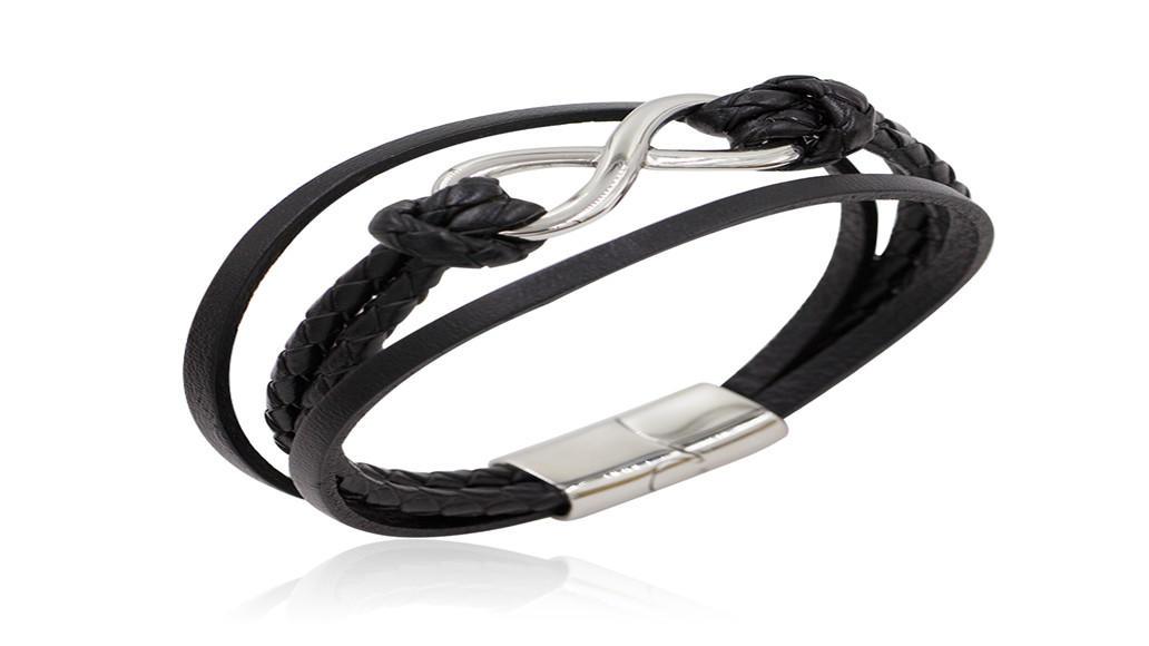 Simple eight shape steel bracelet  handmade black leather men jewelry